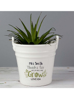 Personalised 'Thanks for Helping Me Grow' Porcelain Planter