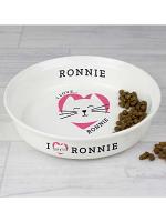 Personalised 'I Love my Cat - Cute Design' Small Ceramic White Pet Bowl