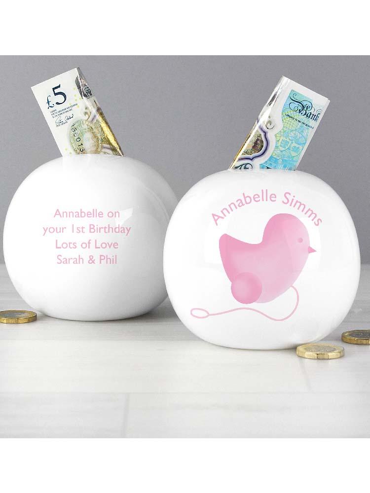 Personalised Pink Chick Money Box