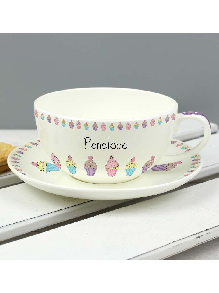 Personalised Cupcake Teacup & Saucer