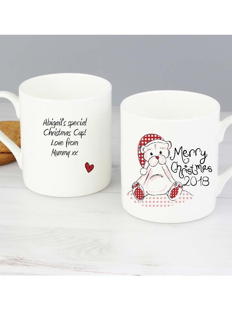 Personalised Cute Teddy Christmas Mug