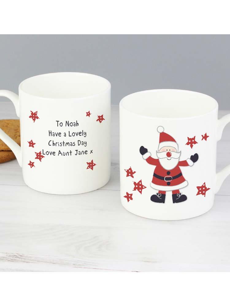 Personalised Spotty Santa China Mug