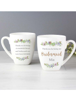 Personalised Bridesmaid 'Floral Watercolour Wedding' Latte Mug