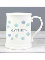Personalised Blue Spot 15oz Mug