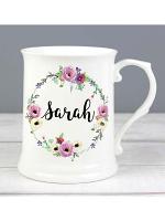 Personalised Floral 15oz Mug