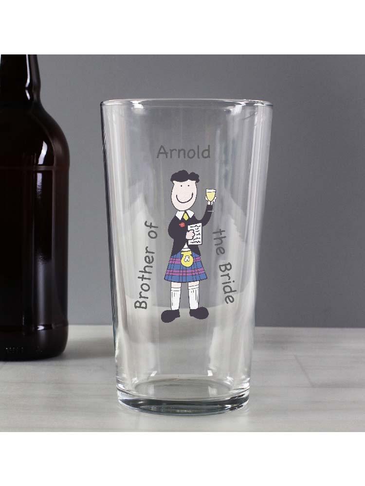 Personalised Scottish Cartoon Wedding Pint Glass
