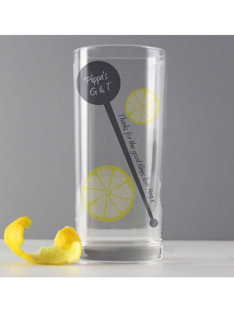 Personalised Lemon & Stirrer Hi Ball Glass