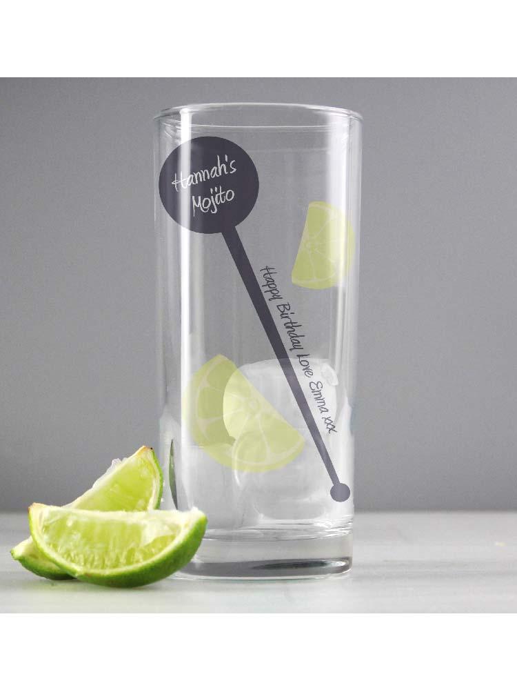 Personalised Lime & Stirrer Hi Ball Glass