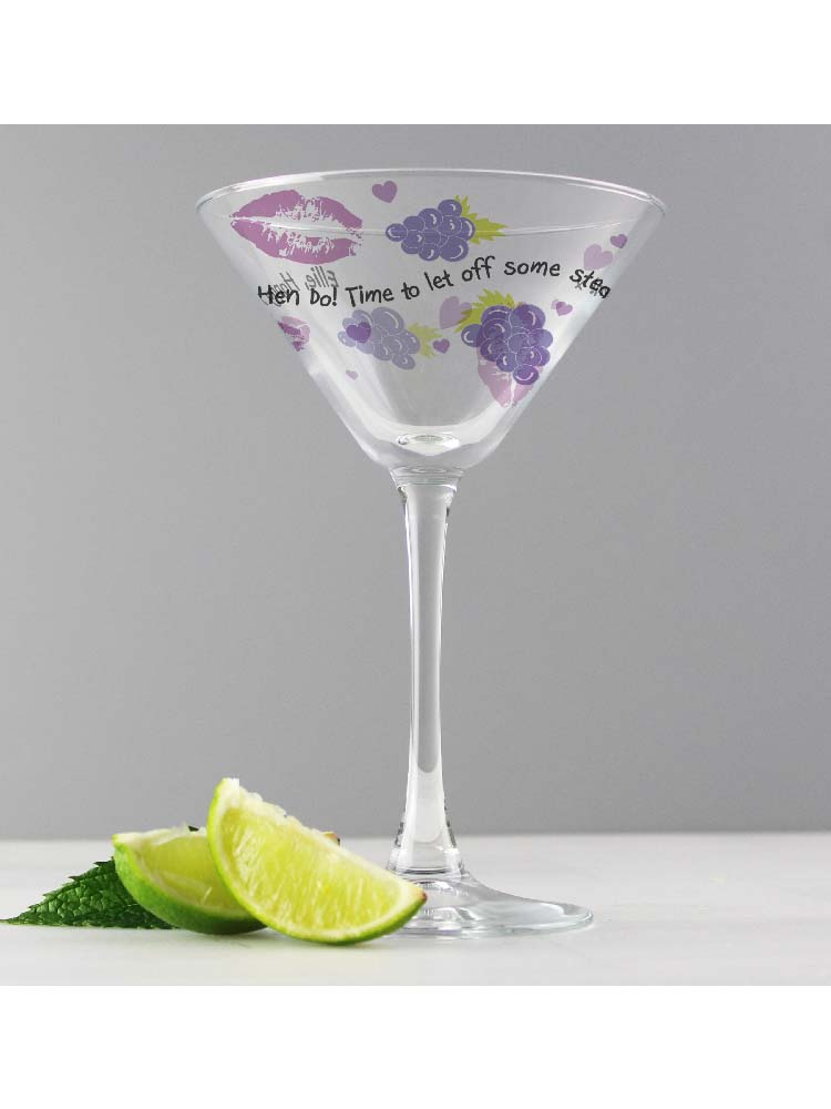 Personalised Lips & Grapes Cocktail Glass