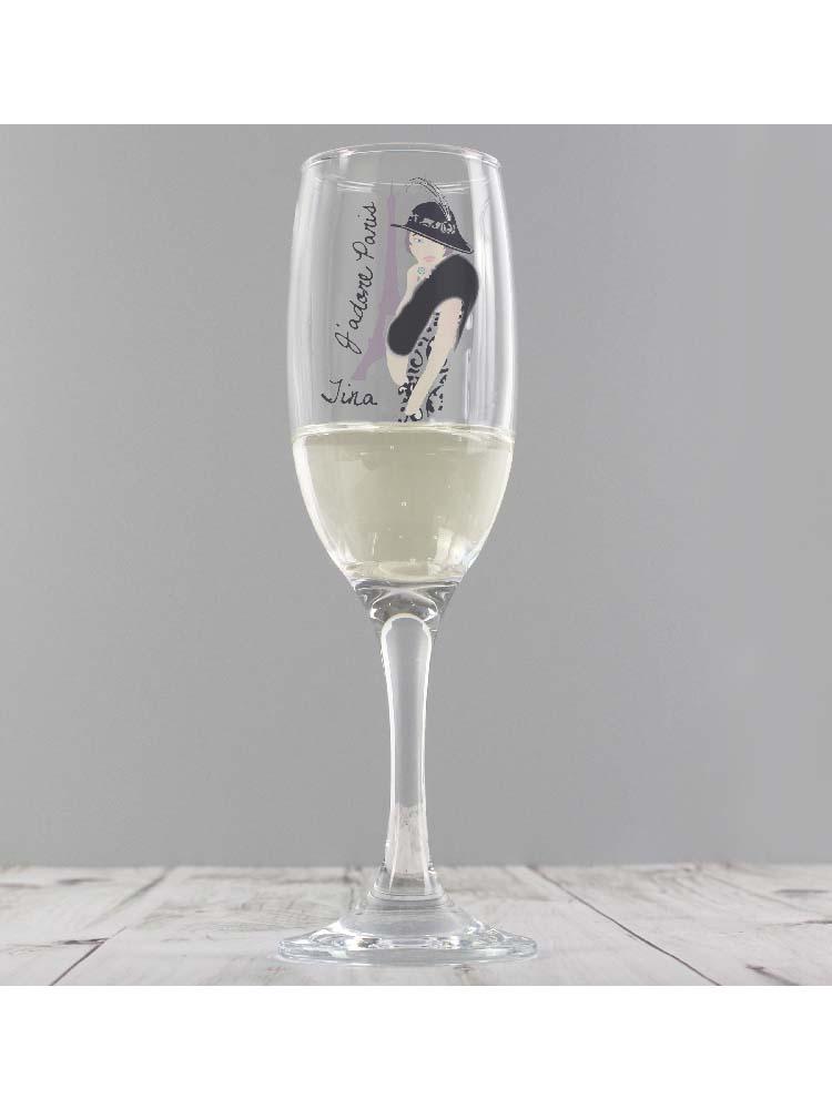 Personalised J'adore Paris Flute Glass