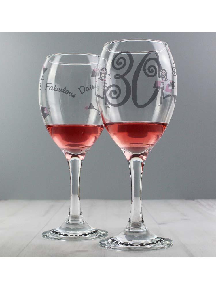 Personalised Fabulous Birthday Wine Glass