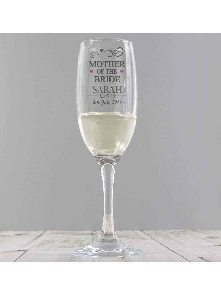 Personalised Mr & Mrs Mother of the Bride Glass Flute