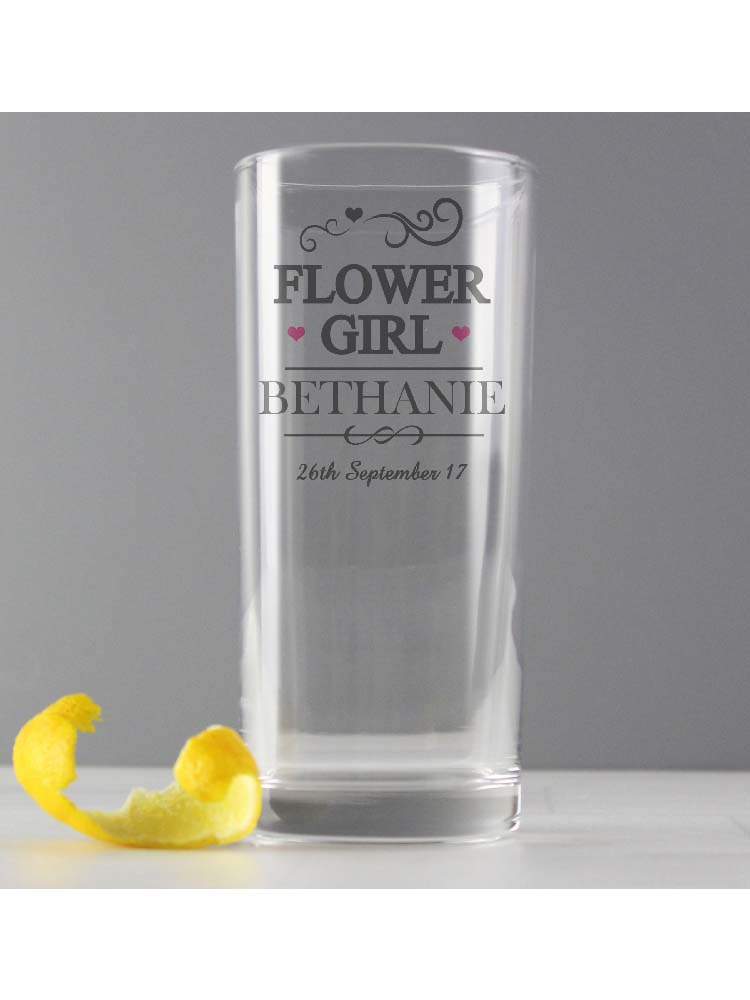 Personalised Mr & Mrs Flower Girl Hi Ball Glass