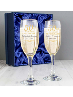 Personalised 50th Golden Anniversary Pair of Flutes With Gift Box