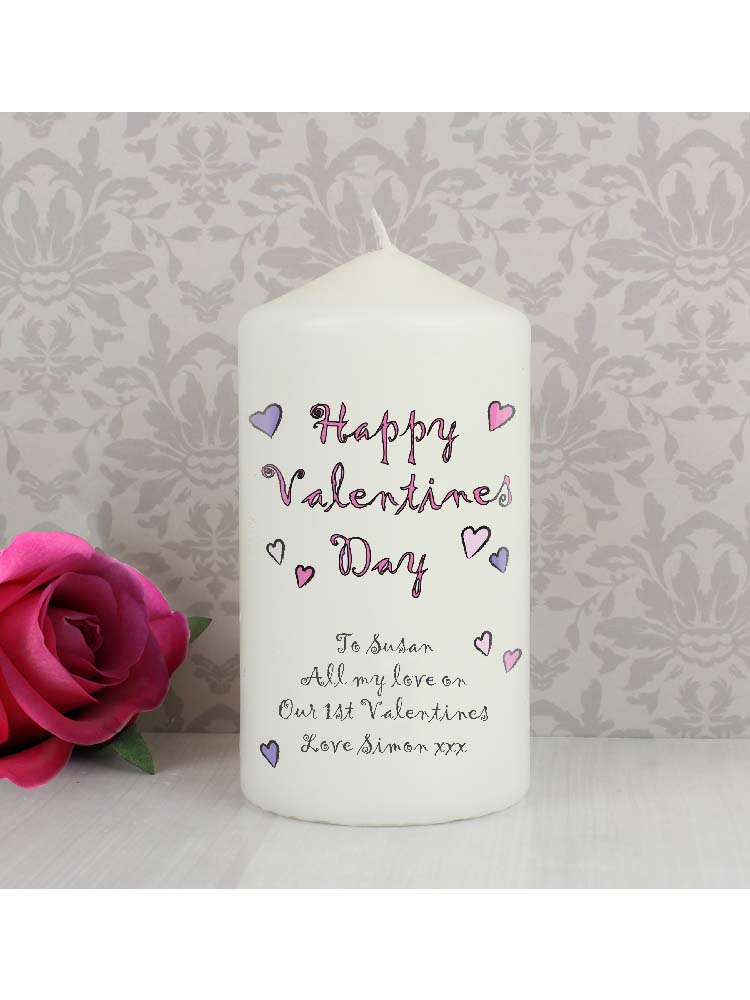 Personalised Flowers and Butterflies Happy Valentines Day Candle