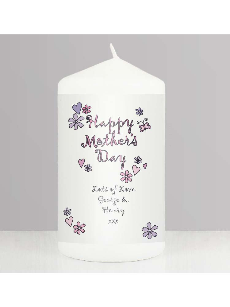 Personalised Flowers and Butterflies Happy Mothers Day Candle