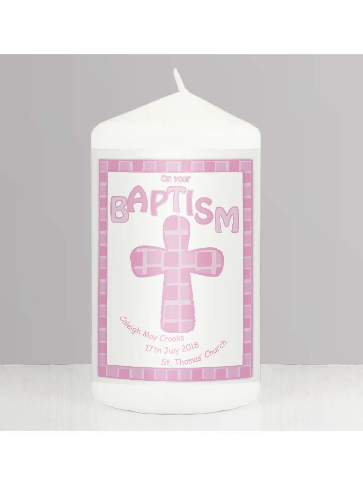 Personalised Pink Baptism Candle