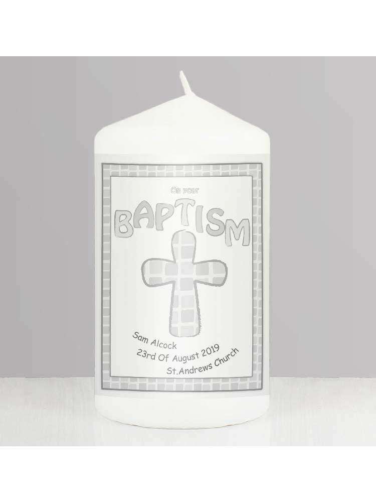 Personalised Grey Baptism Candle