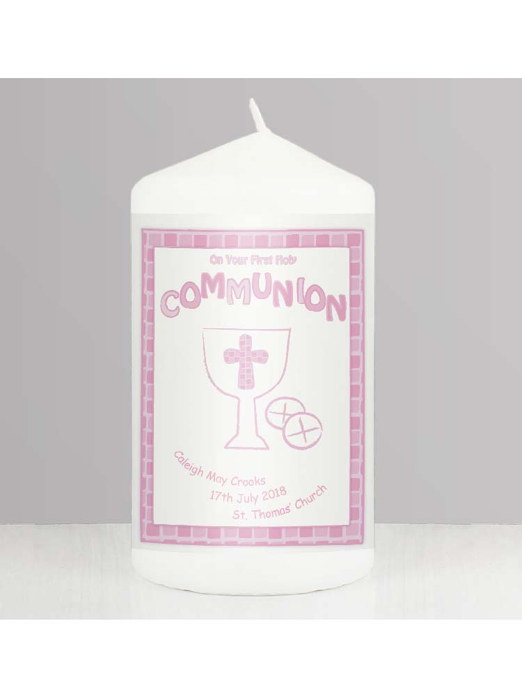 Personalised Pink First Holy Communion Candle