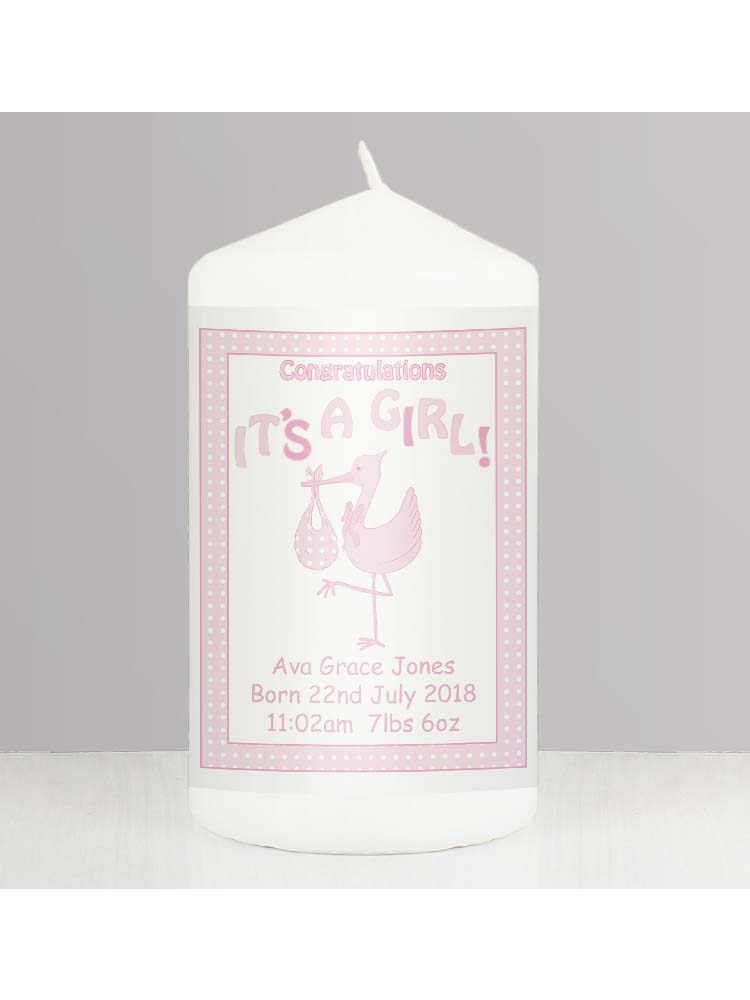 Personalised Stork It's a Girl Candle