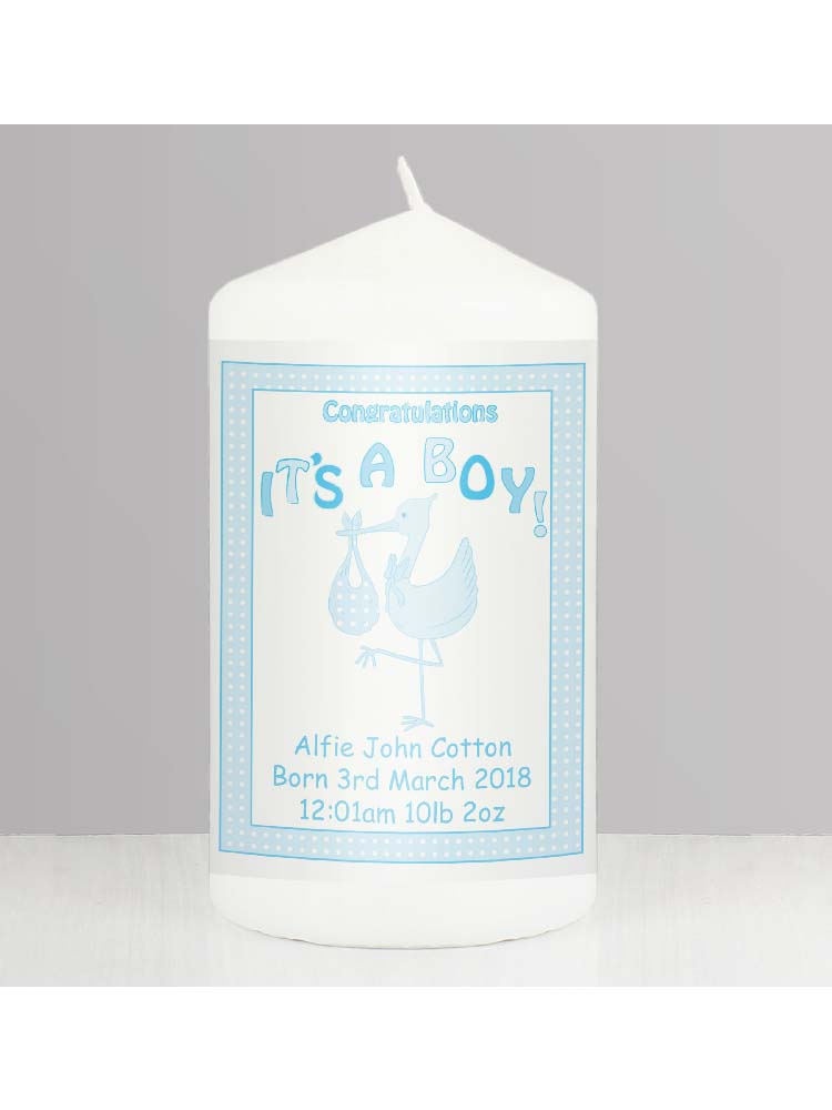 Personalised Stork It's a Boy Candle