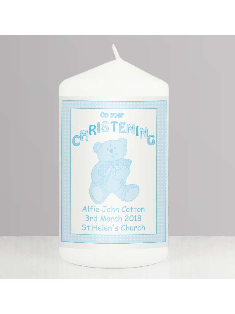 Personalised Teddy Blue Christening Candle