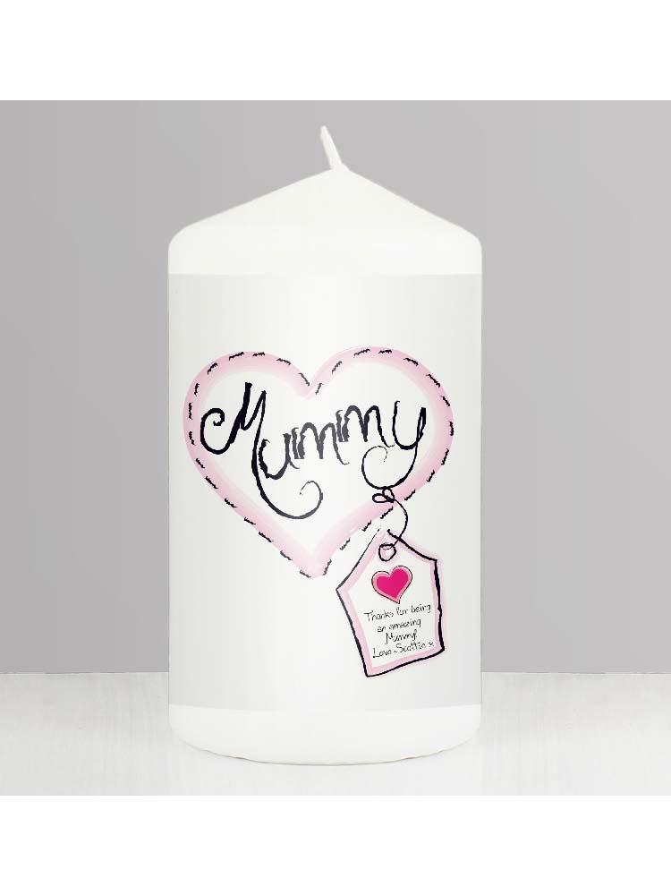 Personalised Heart Stitch Mummy Candle