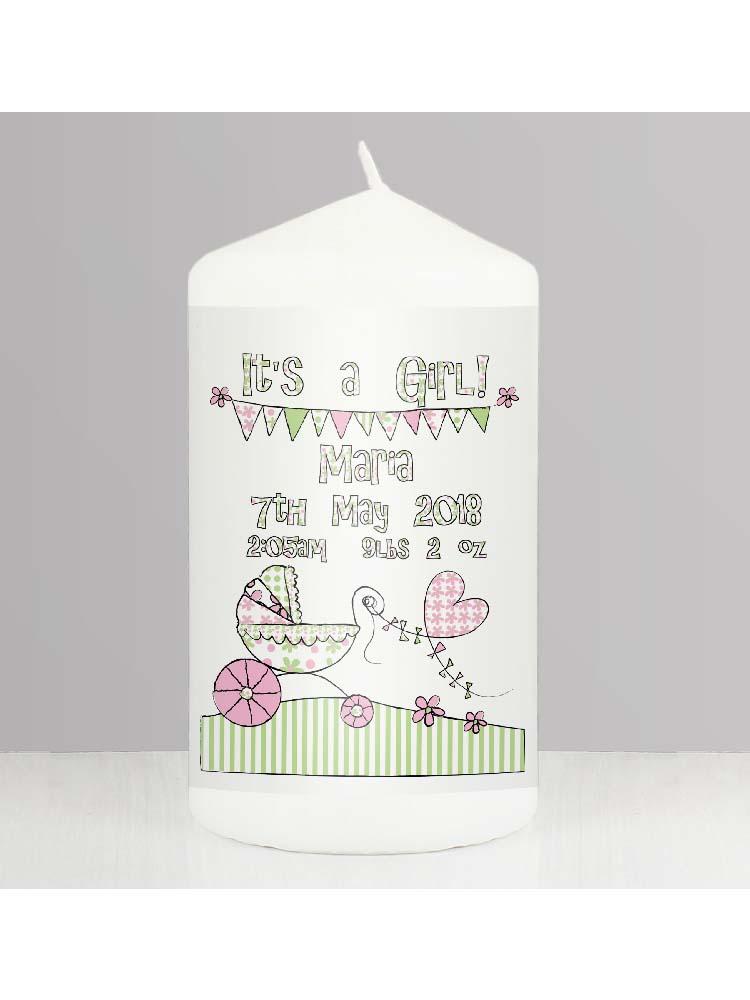 Personalised Whimsical Pram Its a Girl Candle