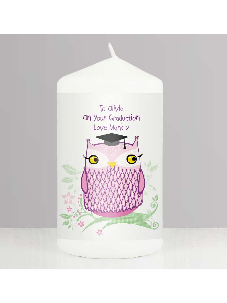 Personalised Miss Owl Teacher Candle
