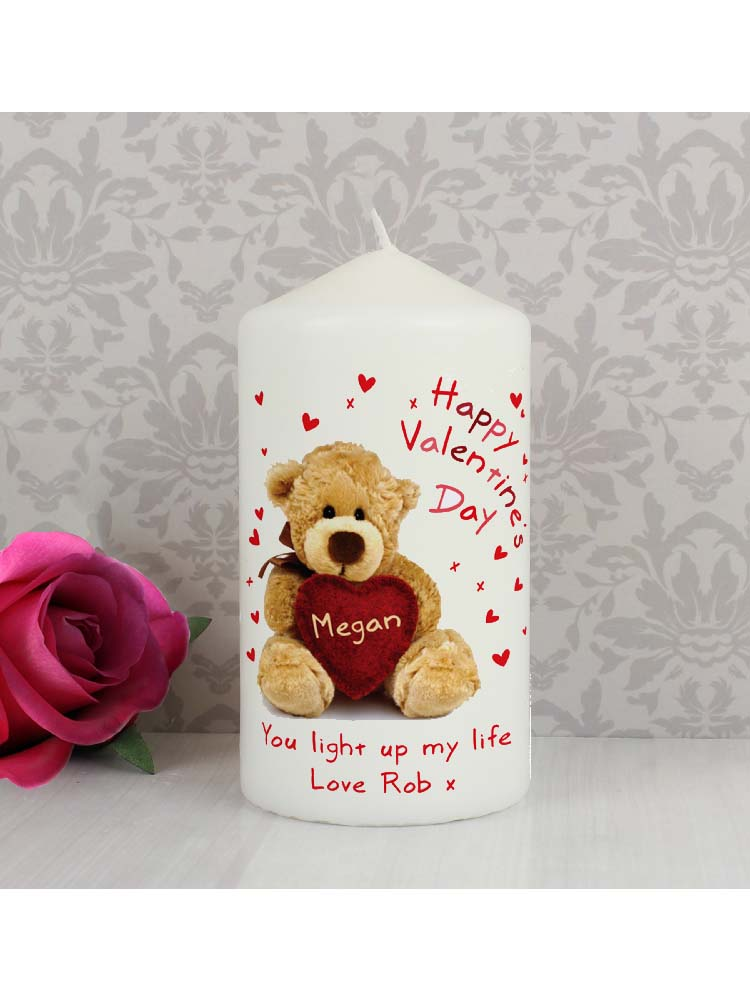 Personalised Teddy Heart Candle