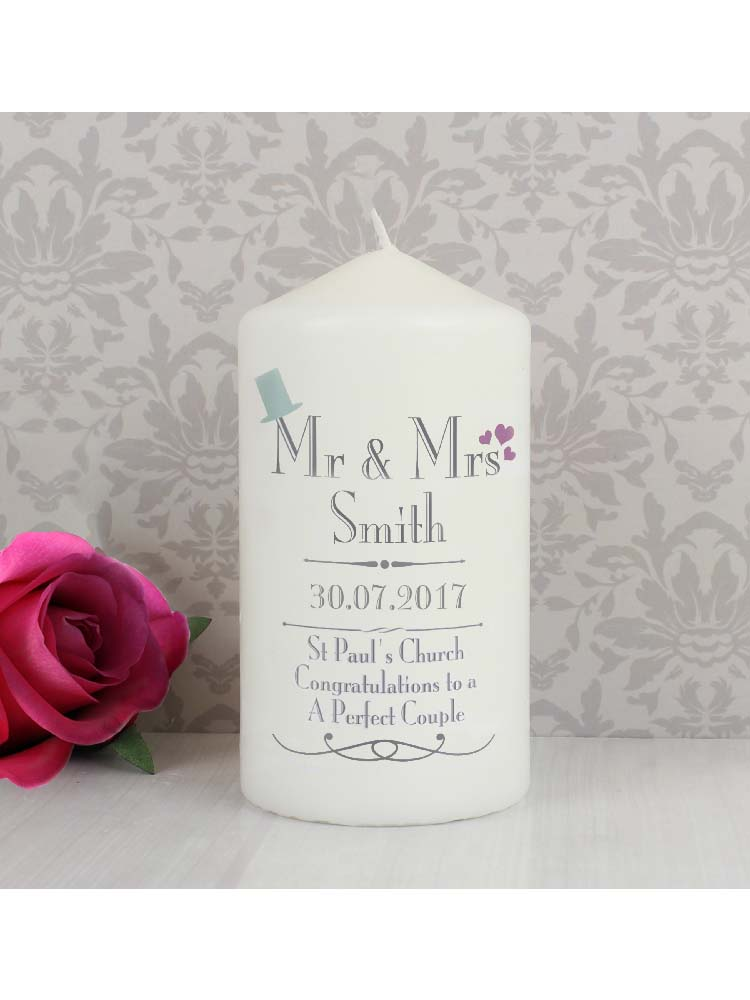 Personalised Decorative Wedding Mr & Mrs Candle