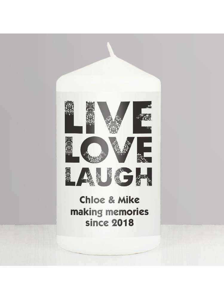 Personalised Live Love Laugh Candle
