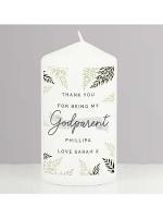 Personalised Godparent Pillar Candle
