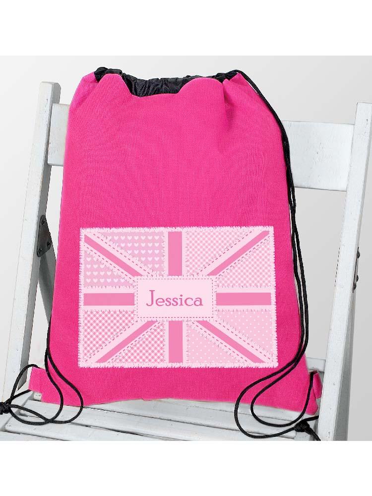 Personalised Pink Patchwork Union Jack Swim & Kit Bag