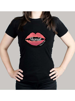 Personalised Rose Gold Lips Hen Party T-Shirt - Black Medium