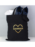 Personalised Gold Heart Black Cotton Bag