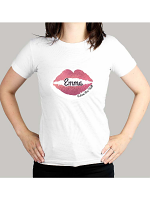 Personalised Rose Gold Lips Hen Party T-Shirt - White Medium