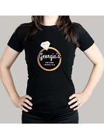 Personalised Gold Bling Ring Hen Party T-Shirt - Black Large