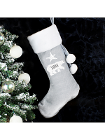 Personalised Polar Bear Luxury Silver Grey Stocking