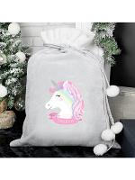 Personalised Christmas Unicorn Luxury Silver Grey Pom Pom Sack