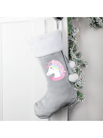 Personalised Christmas Unicorn Luxury Silver Grey Stocking