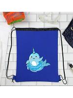 Personalised Narwhal Blue Swim Bag