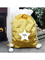 Personalised Star Luxury Pom Pom Gold Sack