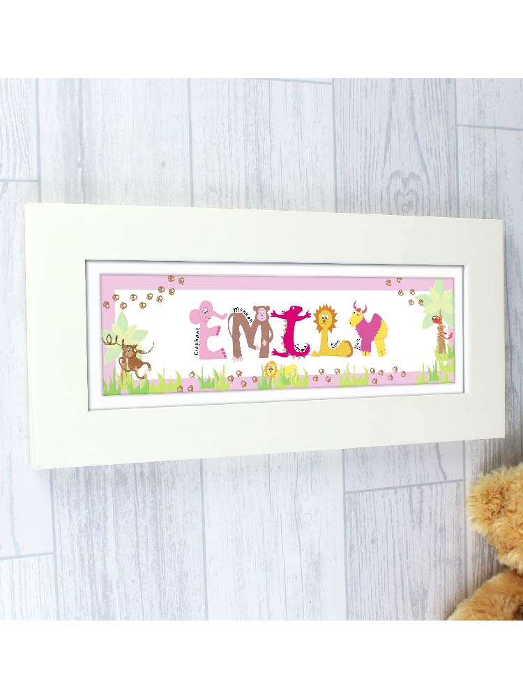 Personalised Pink Animal Alphabet Name Frame