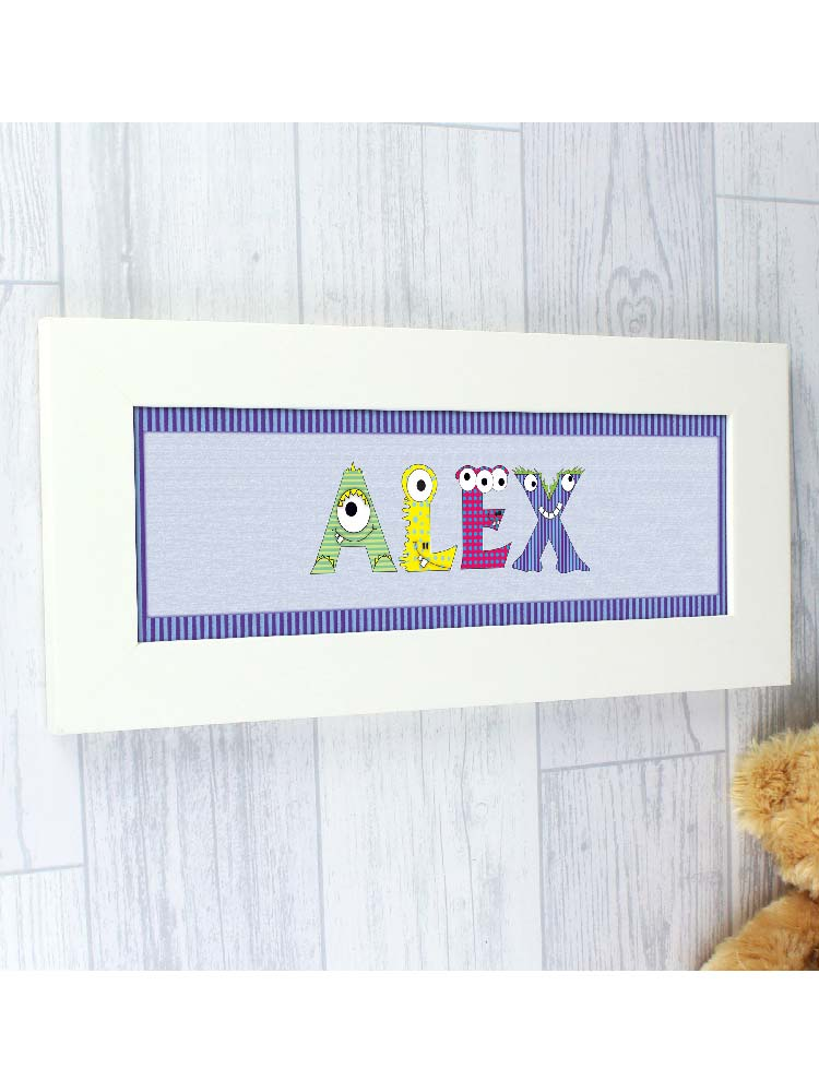 Personalised Monster Name Frame For Boys