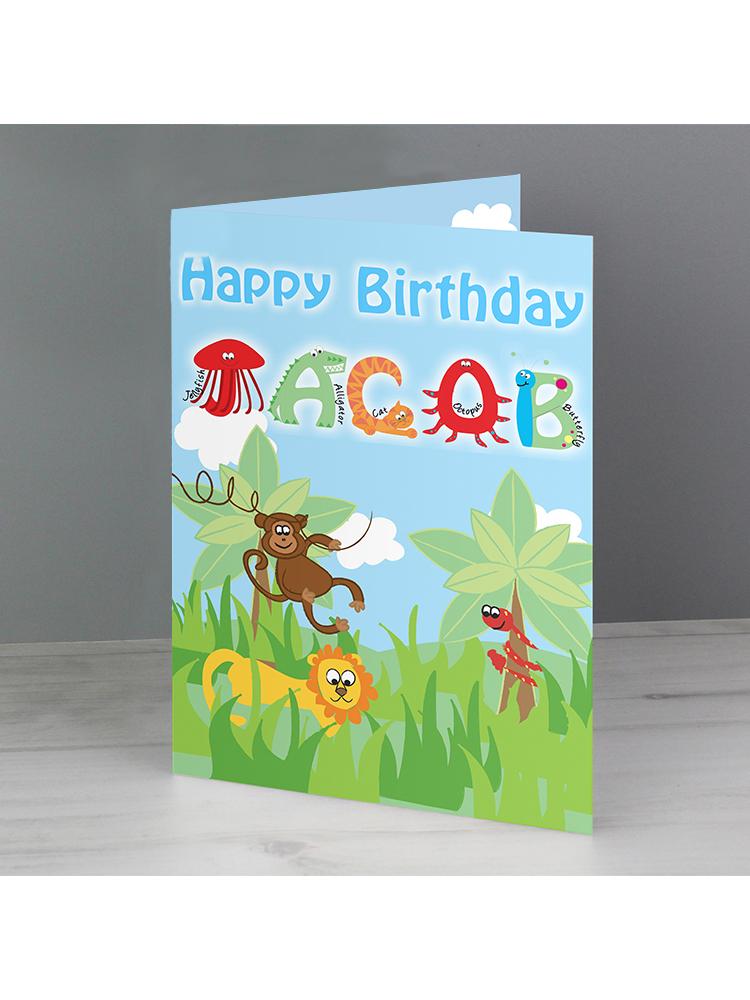 Personalised Blue Animal Alphabet Card