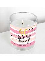 Personalised Birthday Gold and Pink Stripe Scented Jar Candle