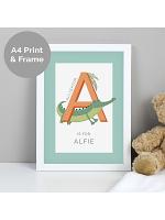 Personalised Animal Alphabet A4 White Framed Print