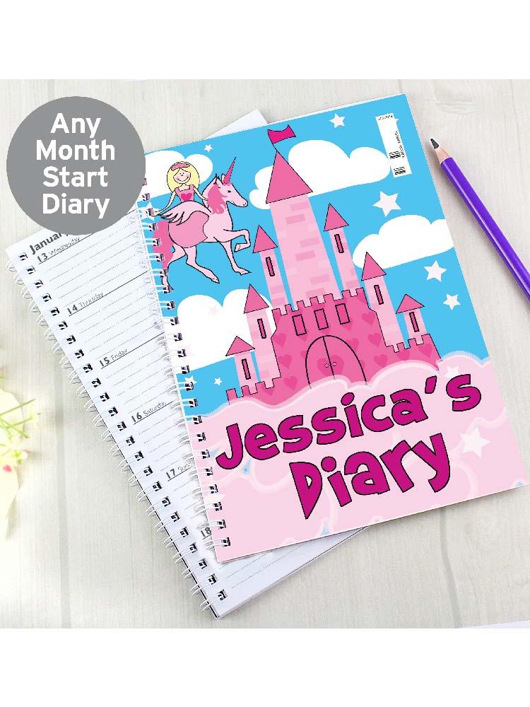 Personalised Princess & Unicorn - A5 Diary