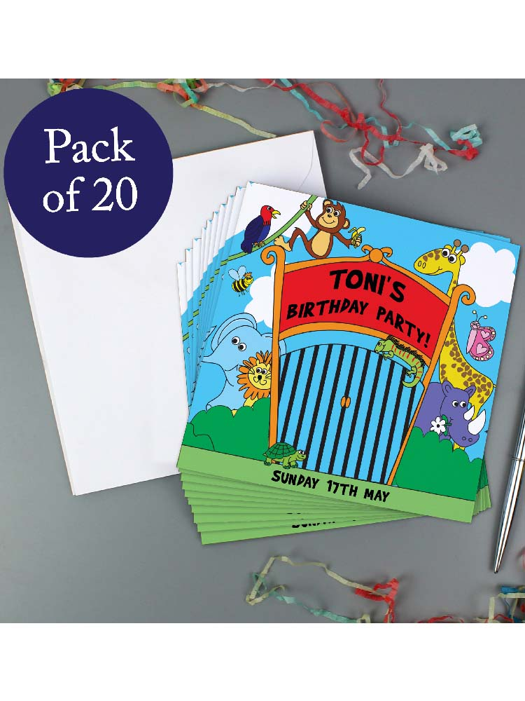 Personalised Zoo Party Pack of 20 Invitations
